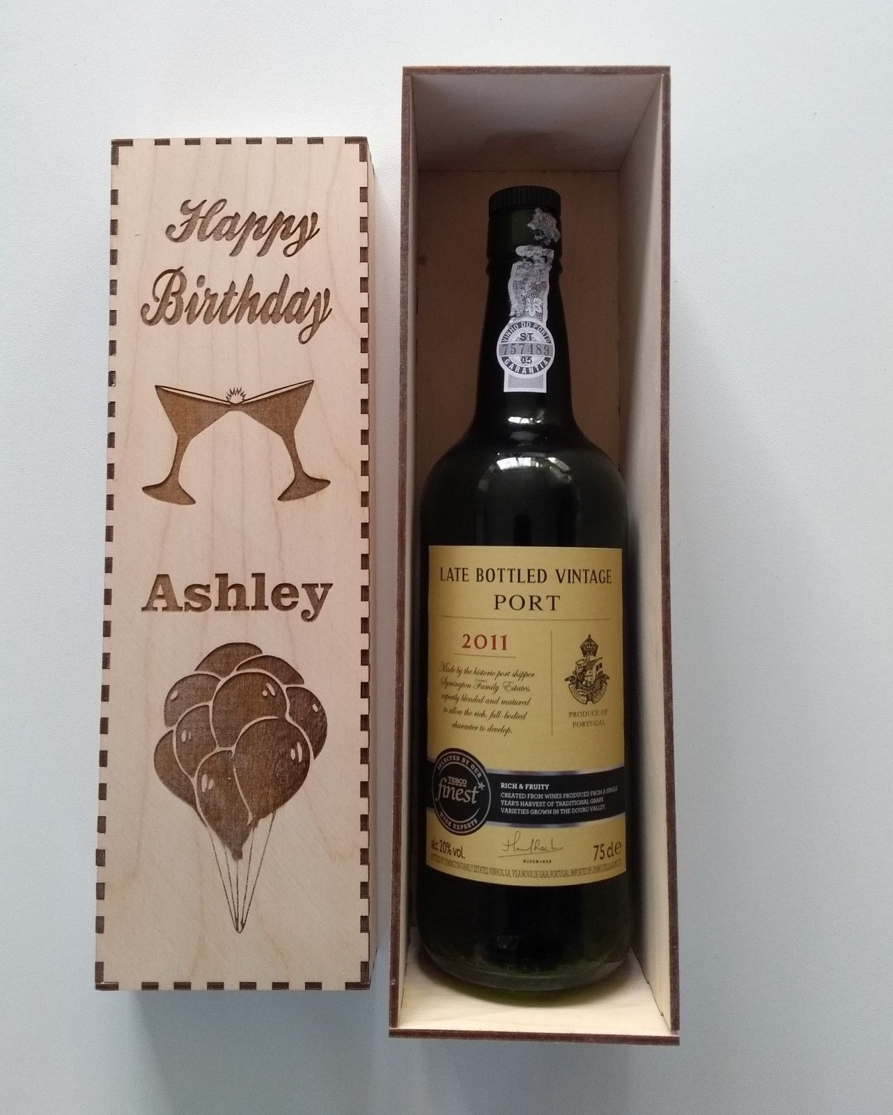 Wooden Wine Gift Box Personalised Engraved Wine Box Birthday Wedding Anniversary